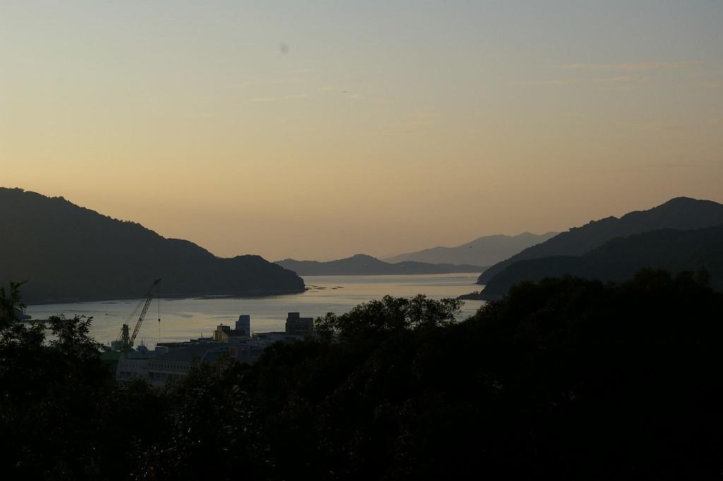 お城山からの夕暮れの風景